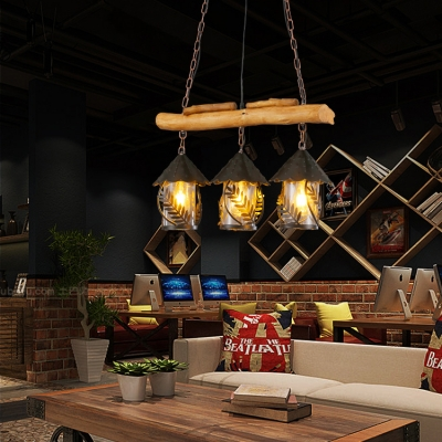 Restaurant House Shape Pendant Lighting Metal and Wood 3 Lights Rustic Style Black Island Fixture