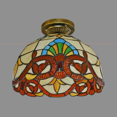 Stained Glass Bowl Flush Light 1 Light Antique Yellow Victoria/Blue Victoria/Baroque/Pearl Ceiling Light