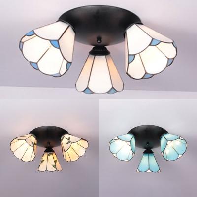 Tiffany Style Ceiling Mount Light 3 Lights White/Blue/Beige Glass Overhead Light for Bedroom