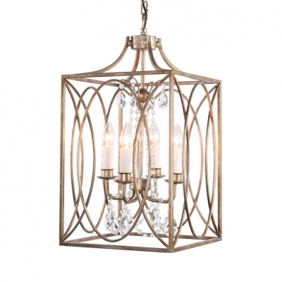 Traditional Style Candle Chandelier with Rectangle Cage and Crystal 4 Lights Metal Pendant Light for Shop