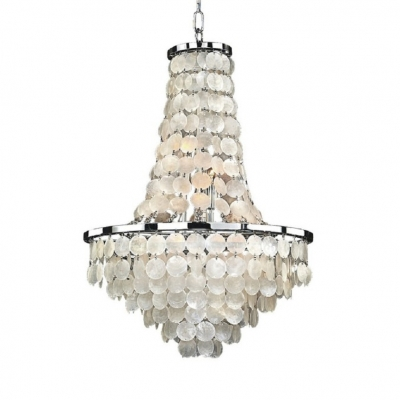 Traditional White Chandelier Light with Shell Decoration 8/9 Lights Metal Hanging Lamp for Living Room