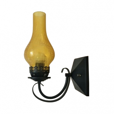 Vase Shape Wall Light Single Light European Style Metal and Amber-Yellow/Clear Glass Sconce for Hallway