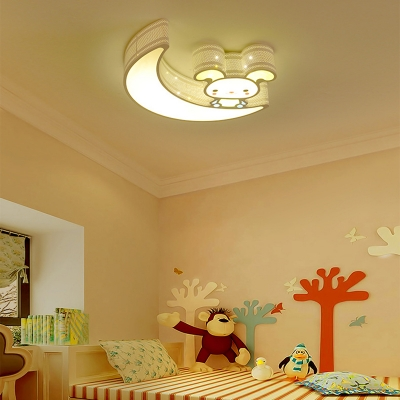 Warm Lighting/Stepless Dimming Ceiling Light White/Blue Rabbit Mood Shape Light Fixture for Child Bedroom