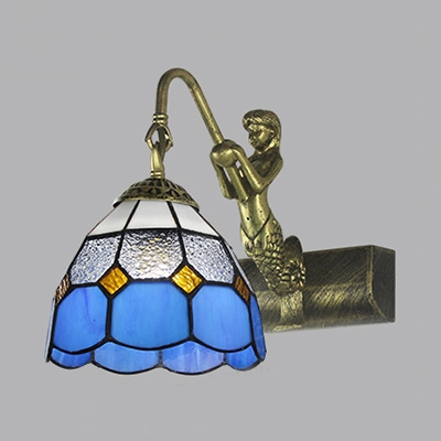 1 Light Dome Wall Sconce with Mermaid Tiffany Style Antique Stained Glass Light Fixture for Bedroom