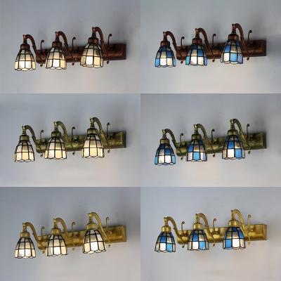 3 Lumières Cône de Mur de Lumière de Style Antique, Bleu/Verre Blanc Applique la Lumière pour la salle de Bain Couloir