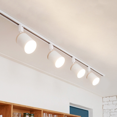 4 Lights Cylinder Track Lighting Modern Metal Led Ceiling Lamp In