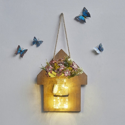 House Shaped Hanging Light with Bottle and Plant Decoration Rustic Style Wood and Glass Fairy Light for Foyer
