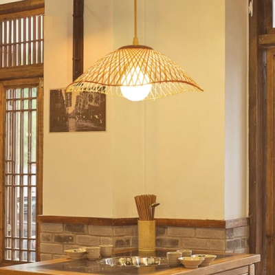 Bamboo Woven Ripple Hanging Light for Dining Room Pastoral Single Bulb Drop Light in Beige