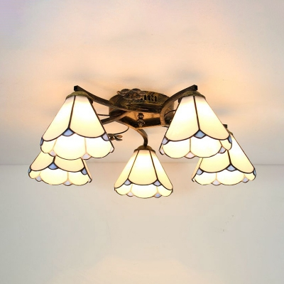 Bedroom Conical Ceiling Light Glass 5 Lights Tiffany Style Semi Flush Mounted Light