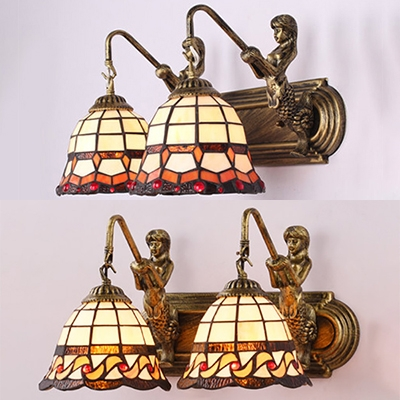 Bell Living Room Sconce Light Stained Glass 2 Lights Tiffany Style Wall Lamp with Mermaid Decoration