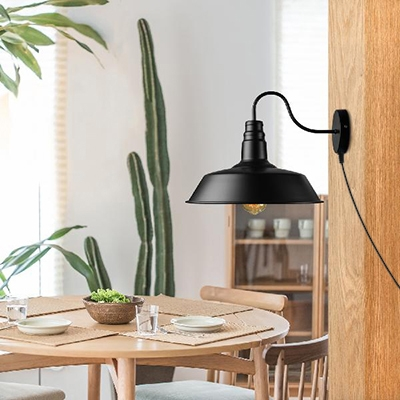 Black Barn Shape Wall Light with Plug In Cord 1 Light Antique Style Metal Sconce Wall Light for Bar