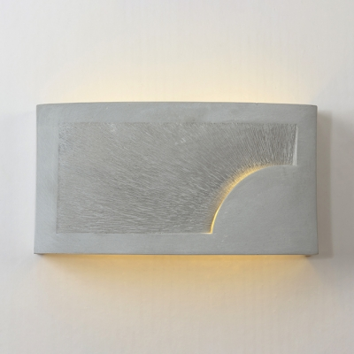 Cement Rectangle Wall Sconce Single Light Antique Style Wall Light in Gray for Coffee Shop Restaurant
