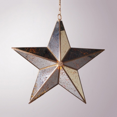 Classic Gold Ceiling Light with Star 1 Light 2 Glass Choice Hanging Light for Bedroom Restaurant