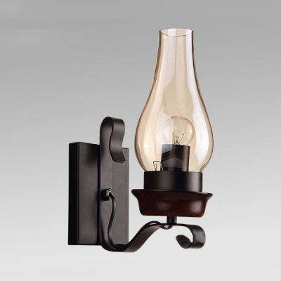 Dining Room Hallway Kerosene Wall Lamp Metal and Glass Single Light Vintage Style Wall Sconce