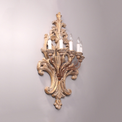 Dining Room Hotel Candle Wall Light Wood Metal 5 Lights Antique Style Sconce Light with Decorative Lamp Body