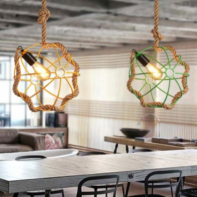 Global Pendant Lighting with Colorful Metal Cage and Hanging Rope Lodge Style Drop Light in Black