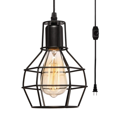 Black Wire Caged Pendant Light Metal 1 Light Vintage Style Plug In Hanging Light for Dining Room Coffee Shop