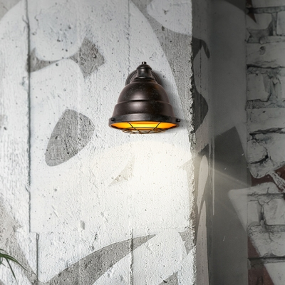 Industrial Dome Wall Sconce Metal 1 Light Copper Patina/Black Patina Wall Lighting for Kitchen