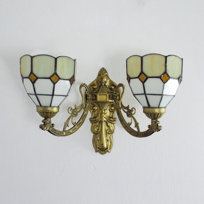 Living Room Cone Wall Sconce Stained Glass 2 Lights Tiffany Style Rustic Wall Lamp