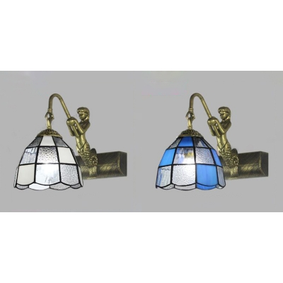 Mermaid Sconce Light Down Lighting 1 Light Wall Sconce with 2 Color Choice for Bathroom
