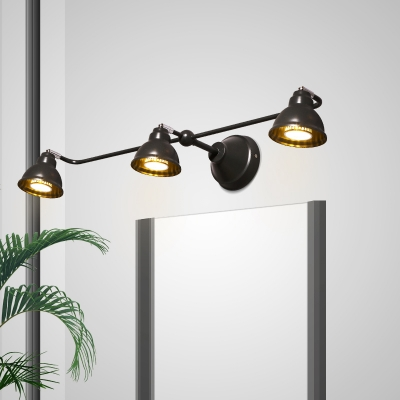 Metal Bowl Shape Wall Light Living Room Bedroom 3 Lights Industrial Wall Sconce in Black