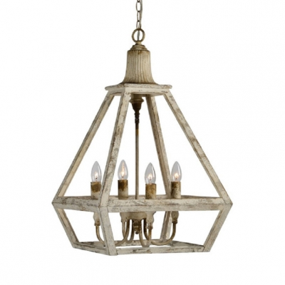 Metal Cage Candle Shape Ceiling Light Vintage Style 4 Lights White Chandelier for Restaurant Cafe