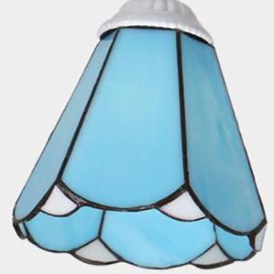 Metal Conical Semi Flush Light 5 Light Rustic Style Ceiling Lamp in White/Sky Blue/Blue for Living Room