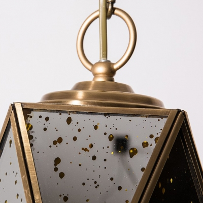 Polyhedron Kitchen Hallway Ceiling Light Metal Class 1 Light Antique Style Hanging Light in Gold