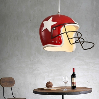 Sport Style Helmet Shape Ceiling Lamp Single Light Metal Hanging Light in White/Red for Shop