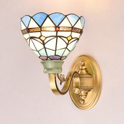 Stained Glass Dome Sconce Light 1 Light Vintage Style Wall Lamp for Bathroom Hallway
