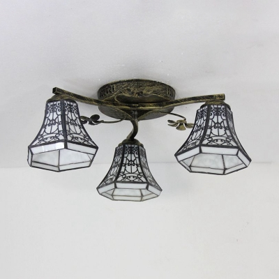 Stained Glass Tapered Semi Flush Mount Light 3 Lights Tiffany Style Ceiling Light for Restaurant
