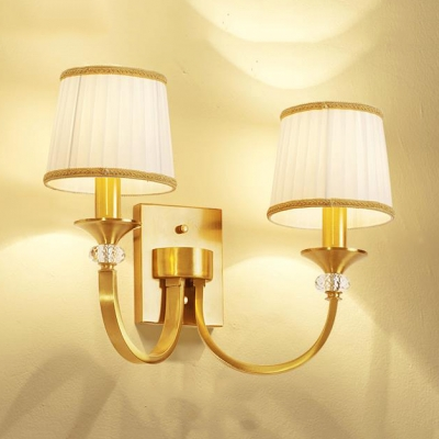 Tapered Stair Bedroom Wall Light Metal 1/2 Lights Elegant Style Sconce Light in Brass