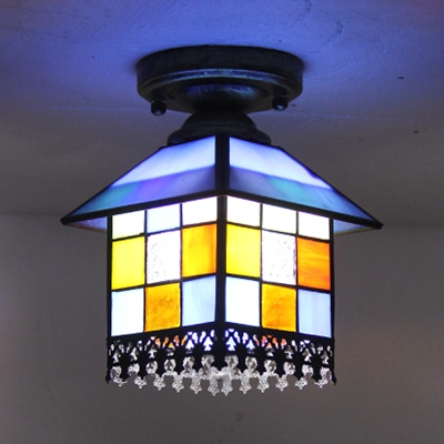 Tiffany Style House Ceiling Lamp Stained Glass 1 Light Flush Ceiling Light for Hallway