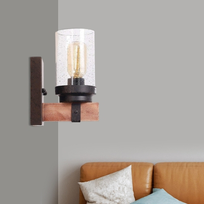 Vintage Style Cylinder Wall Light Single Light Bubble Glass and Wood Wall Lamp for Hallway Bar