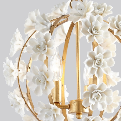 Vintage Style Globe Chandelier Light 3 Lights Metal Pendant Lighting with Flower Decoration in Gold