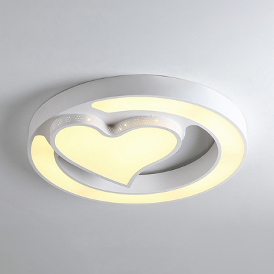 White Round Shape Flush Mount Light with Lovely Shape White Lighting LED Ceiling Light for Boy Girl Bedroom