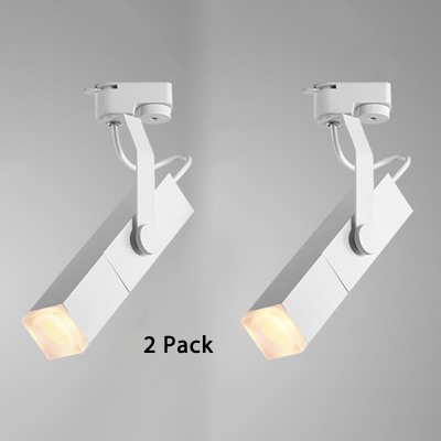 (2 Pack)Black/White Rectangle Ceiling Fixture Kitchen Dining Room Angle Adjustable LED Spot Light in White/Warm White
