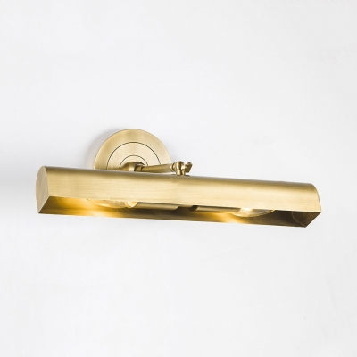 2 Lights Tube Wall Light Traditional Metal Sconce Lamp in Brass for Mirror Bathroom