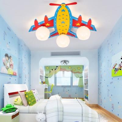 3/4 Lights Ceiling Mount Light Girl Boy Bedroom Decorative Plane Shape LED Flush Mount Light