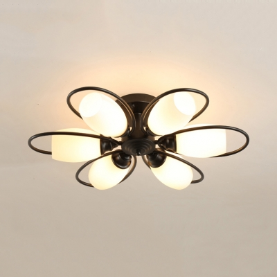 3/6/8 Lights Flower Semi Ceiling Mount Light Modern Metal Ceiling Lamp in Black for Restaurant