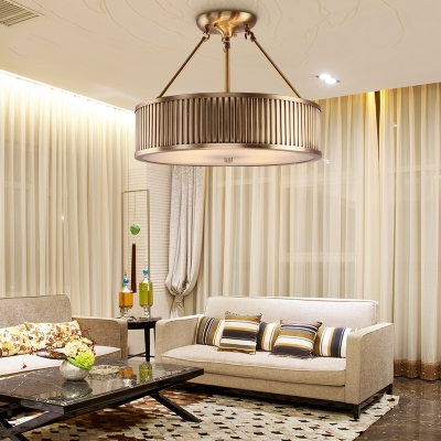 4 Lights Drum Semi Flush Mount Light Antique Style Metal Ceiling Lamp for Hotel Restaurant