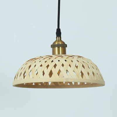 Vintage Pendant Light Single Light Pail/Dome/Bubble Rattan Pendant Lamp in Beige for Foyer