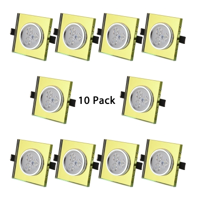 (10 Pack)5W Square Recessed Light 2-3 Inch Gold/Green/Amber Crystal LED Light Fixture Recessed in White/Warm for Dining Room