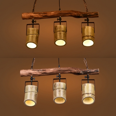Antique Cylinder Island Lighting 3 Lights Metal and Wood Pendant Lighting in Brown