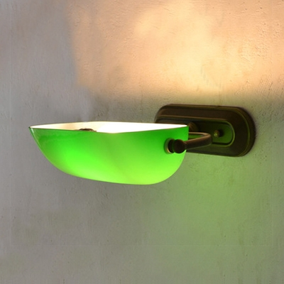 Antique Style Bankers Lamp 1 Light Glass and Metal Wall Light in Green with/without Pull Chain for Dining Room
