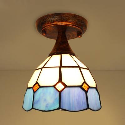 Antique Style Flush Ceiling Light Dome 1 Stained Gl