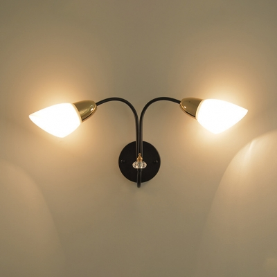 Bell Shape Bedroom Stair Sconce Metal and Frosted Glass 1/2 Lights Simple Style Wall Light in Black