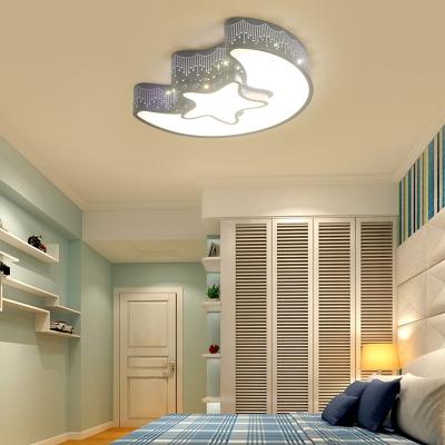 Blue Moon Star Flush Mounted Light White Lighting/Stepless Dimming LED Ceiling Light for Kids Room