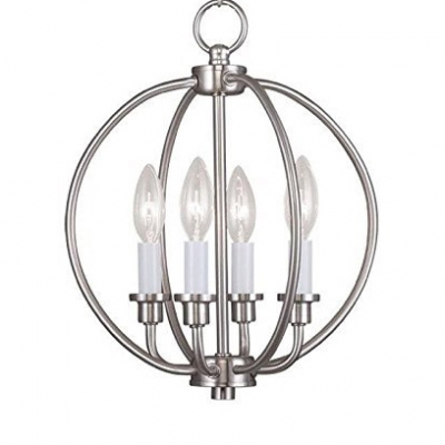 huge discount b5c36 e38d3 Brushed Nickel Globe Ceiling Pendant with Candle 4 Lights Modern Metal