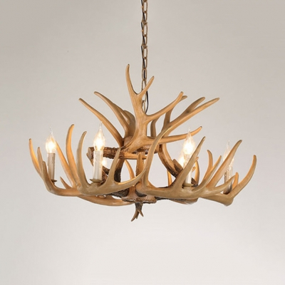 Candle Shape Chandelier with Deer Horn 4/6 Lights Antique Style Resin Pendant Light for Dining Room